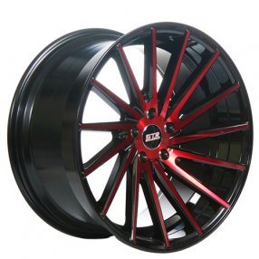 "20"" Staggered STR Wheels 616 Red Rims"