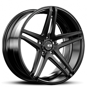 "19"" Staggered XO Wheels X233 Caracas Black Rims"