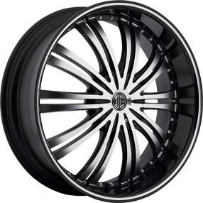 "22x8.5"" 2Crave Wheels No.1 Black Diamond Glossy Black Rims"