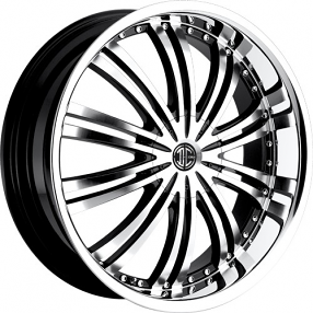 """22x8.5"""" 2Crave Wheels No.1 Gloss Black with Machined Face and Chrome Lip Rims"""