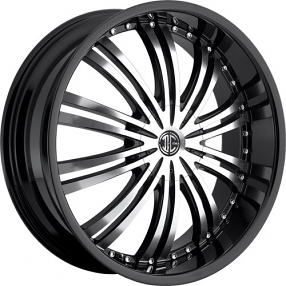 """22x8.5"""" 2Crave Wheels No.1 Gloss Black with Machined Face Rims"""
