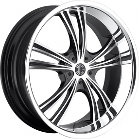 "22""  2Crave Wheels No.2 Glossy Black Machined Face Chrome Lip Rims"