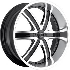 "24"" 2Crave Wheels No.4 Glossy Black Machined Face/CR Lip Rims"