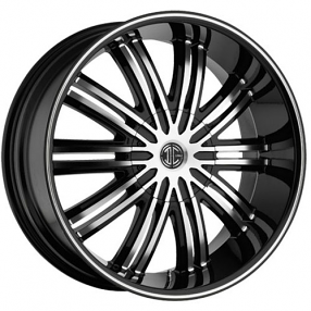 "22""  2Crave Wheels No.7 Black Diamond Glossy Black Rims"