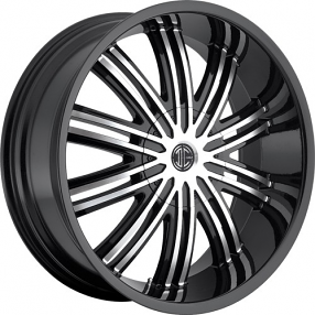 "20x9.5"" 2Crave Wheels No.7 Glossy Black W Machined Face Rims"