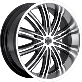 "20x9.5"" 2Crave Wheels No.7 Glossy Black W Machined Face/Polish Lip Rims"