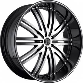 "24"" 2Crave Wheels No.11 D1 Diamond Glossy Black Rims"