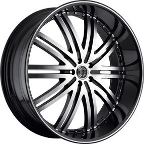 "24"" 2Crave Wheels No.11 D1 Diamond Glossy Black Rims"