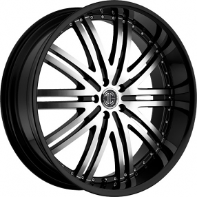"28"" 2Crave Wheels No.11 D1 Glossy Black Machined face and Black Lip Rims"