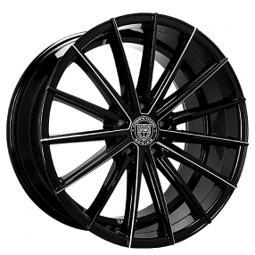 "22"" Staggered Lexani Wheels Pegasus Black W CNC Accents Rims"