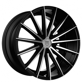 "22"" Staggered Lexani Wheels Pegasus Black Machined Rims"