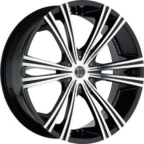 """24"""" 2Crave Wheels No.12 Glossy Black W Machined Face Rims"""