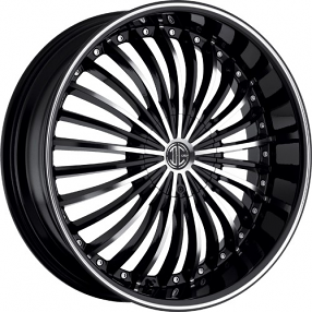 "22"" 2Crave Wheels No.13 Black Diamond Glossy Black Rims"