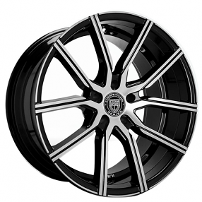 "22"" Staggered Lexani Wheels Gravity Black Machined Rims"