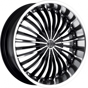 "18"" 2Crave Wheels No.13 Glossy Black Machined/Chrome Lip Rims"