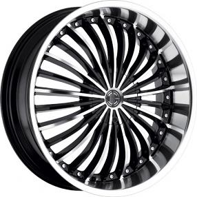 "22"" 2Crave Wheels No.13 Glossy Black Machined/Chrome Lip Rims"