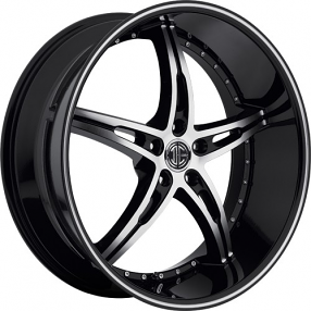 "20"" Staggered 2Crave Wheels No.14 Black Diamond Glossy Black Rims"