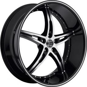 "22x8.5"" 2Crave Wheels No.14 Black Diamond Glossy Black Rims"
