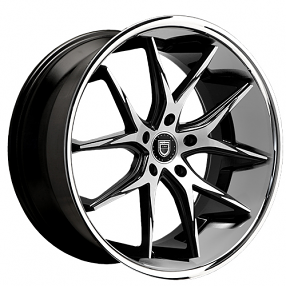 "20"" Staggered Lexani Wheels R-Twelve Black Machined W Chrome Lip Rims"