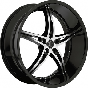 """22"""" Staggered 2Crave Wheels No.14 Black Machined face W Black Lip Rims"""