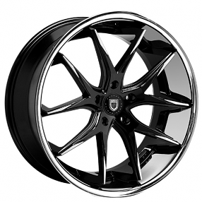 "22"" Staggered Lexani Wheels R-Twelve Black W SS Lip Rims"
