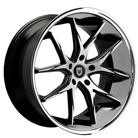 "22"" Staggered Lexani Wheels R-Twelve Black Machined W Chrome Lip Rims"