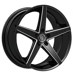 "20"" Staggered Lexani Wheels R-Four Black W CNC Accents Rims"