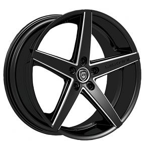 "20"" Staggered Lexani Wheels R-Four Black W CNC Accents Rims"