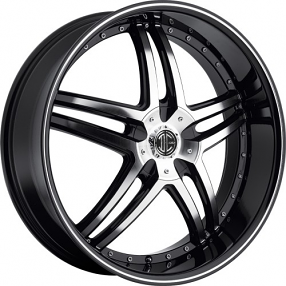"20x8.5"" 2Crave Wheels No.17 Black Diamond Glossy Black Rims"