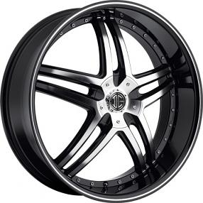 "22x8.5"" 2Crave Wheels No.17 Black Diamond Glossy Black Rims"