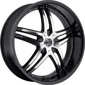 "18"" 2Crave Wheels No.17 Glossy Black Machined face W Black Lip Rims"