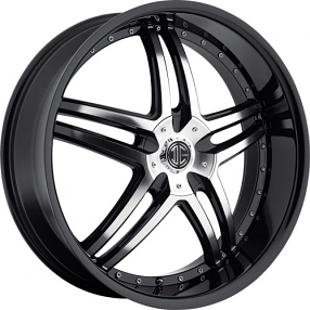 "22x8.5"" 2Crave Wheels No.17 Glossy Black Machined face W Black Lip Rims"