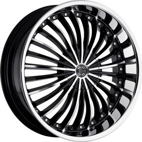 "24"" 2Crave Wheels No.19 Glossy Black Machined Face Chrome Lip Rims"