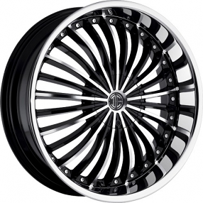 "26"" 2Crave Wheels No.19 Glossy Black Machined Face Chrome Lip Rims"