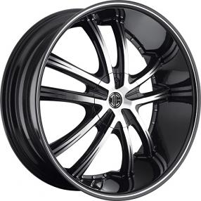 "22x8.5"" 2Crave Wheels No.24 Black Diamond Glossy Black Rims"