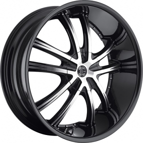 "22x8.5"" 2Crave Wheels No.24 Glossy Black Machined Face W Black Lip Rims"