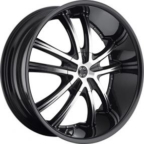 "24x8.5"" 2Crave Wheels No.24 Glossy Black Machined Face W Black Lip Rims"
