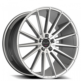 "22"" Staggered Giovanna-Gianelle Wheels Verdi Silver Machined Rims"