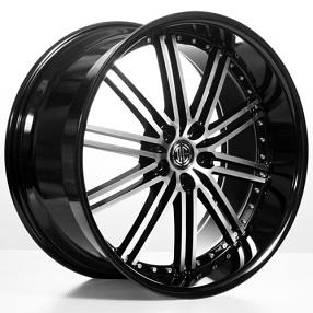 "22"" 2Crave Wheels No.33 Glossy Black Machined face W Black Lip Rims"