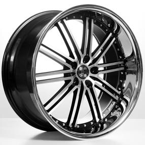 "22"" 2Crave Wheels No.33 Glossy Black Machined face W Chrome Lip Rims"