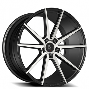 "22"" Staggered Giovanna-Koko kuture Wheels Le Mans Black Machied Rims"