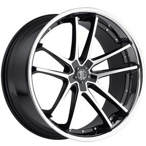 "22"" 2Crave Wheels No.34 Glossy Black Machined face W Chrome Lip Rims"