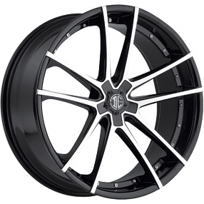 "20"" Staggered 2Crave Wheels No.34 Glossy Black Machined face Rims"