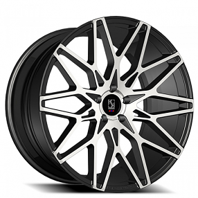 "22"" Staggered Giovanna-Koko kuture Wheels Funen Black Machined Rims"