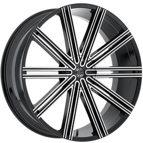 "22x8.5"" 2Crave Wheels No.37 Glossy Black Machined face Rims"