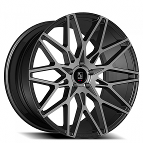 "22"" Staggered Giovanna-Koko kuture Wheels Funen Black Smoked Rims"