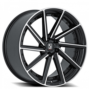 "22"" Staggered Giovanna-Koko kuture Wheels Surrey Black Machined Rims"