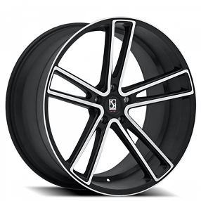 "22"" Staggered Giovanna-Koko kuture Wheels Massa-5 Black Machined Rims"
