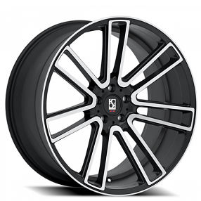"22"" Staggered Giovanna-Koko kuture Wheels Massa-7 Black Machined Rims"