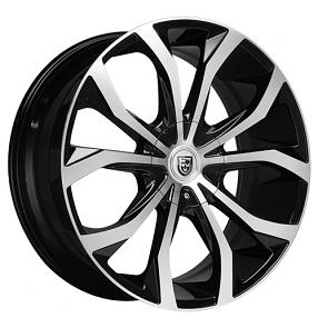"26"" Lexani Wheels Lust Black Machined Rims"